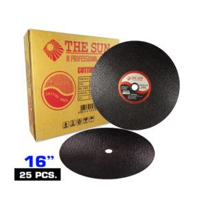 แผ่นตัดเหล็กไฟเบอร์ THE SUN ใย2ชั้น มีความปลอดภัยสูง สำหรับตัดเหล็ก