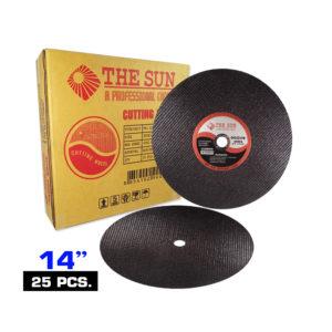 แผ่นตัดเหล็กไฟเบอร์ THE SUN ใย2ชั้น มีความปลอดภัยสูง สำหรับตัดเหล็ก ตัดได้คม นิ่ม รวดเร็ว มีความแข็งแรง ทนทานต่อการแตก