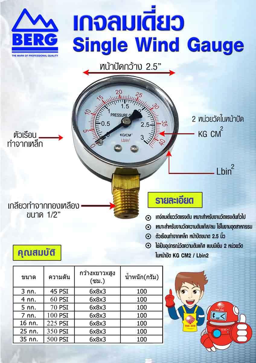 berg pressure gauge single air gauge 2